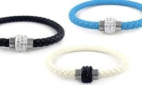 swarovski crystal leather bracelet images Leather bracelet with swarovski groupon goods jpg