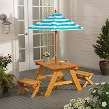 Patio Table And Umbrella Outdoor Table W Benches Umbrella Toys