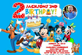 mickey mouse clubhouse custom birthday party invitation add photo