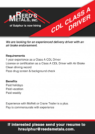 cdl class a driver careers with reed u0027s metals reed u0027s metals