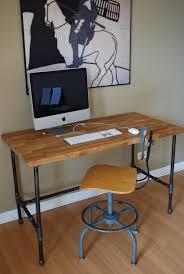 Computer Desk Inspiration Industrial Modern Steel Pipe And Oak Desk Workplace Pinterest