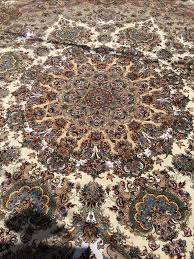 13x13 Area Rugs Round Oversize Khatibi Tabriz Rug Silk Persian Rug Item Ba 101