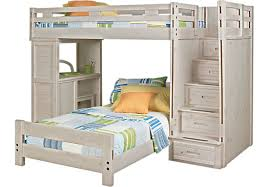 creekside stone beige wash gray twin twin step bunk bed with