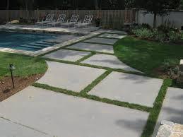 outdoors large bluestone pavers for backyard landscaping idea