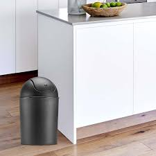 interior simplehuman trash cans with grey granite countertop also