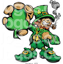 royalty free vector of a logo of a leprechaun smoking a pipe and