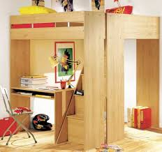 innovative loft bed with desks for space optimization in small