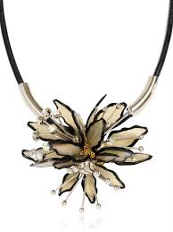 leather flower necklace images Lyst marni horn and leather flower necklace in white jpeg