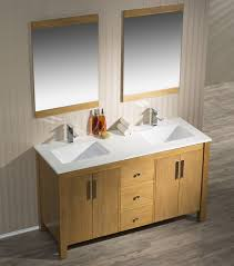 59 inch traditional brown tan finish double bathroom vanity quartz top