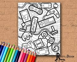 instant download coloring page video game controllers
