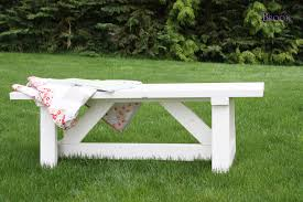 beautiful summer backyard idea with diy garden bench with colorful