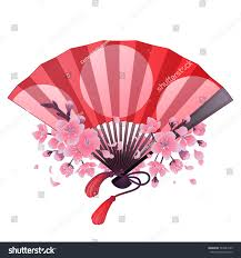 hand fan red pink colors traditional stock vector 544027225