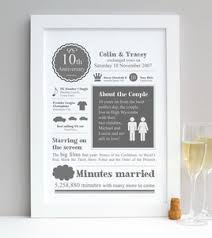 tenth wedding anniversary personalised tenth wedding anniversary print by afewhometruths