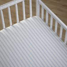 Crib Mattress Fitted Sheet Boys Fitted Striped Cot Sheet In Starlight Blue Nursery