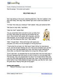 fillable online reading comprehension worksheet hally grade 3
