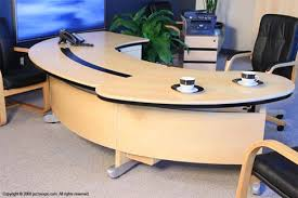 Wrap Around Computer Desk Miami Light Maple Curved Desk