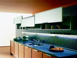 kitchen backsplash blue subway glass tile backsplash with canopy