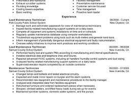 Maintence Resume Maintenance Resume Sample Facility Lead Maintenance Maintenance