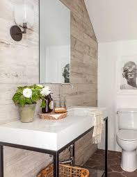 Modern Cottage Bathroom Modern Cottage Powder Room With Plank Accent Wall Cottage Bathroom