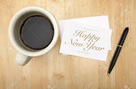 happy new year note cards happy new year note card pen and coffee cup on wood background