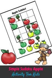 Halloween Sudoku Printable by Simple Sudoku Apple Kids Activity This Outnumbered Mama