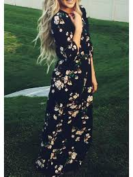 maxi dress with sleeves navy sleeve floral maxi dress emmacloth women fast fashion online