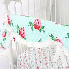 Aqua And Pink Crib Bedding by Lucy U0027s Mint Bumperless Crib Bedding Caden Lane