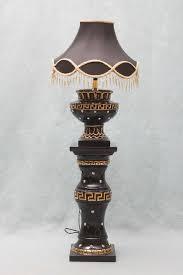belinda cream and gold black and gold pedestal lamp with diamante