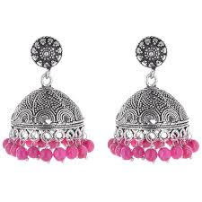 jhumki earring ganapathy gems pink oxidised silver jhumki earring for women