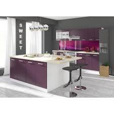achat cuisine pas cher ultra cuisine complète avec îlot 2 40 m coloris aubergine achat