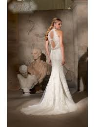 key back wedding dress mori 2712 halter neckline back key detail ivory lace dress