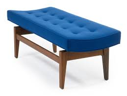 pair of four foot floating upholstered benches by jens risom mid