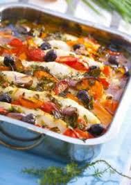 poisson et légumes au four
