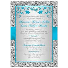 25th Wedding Anniversary Invitation Cards For Parents Wedding Invitation Turquoise Silver Floral Faux Silver Foil