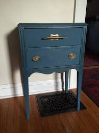 blue sewing table harmony haus painting