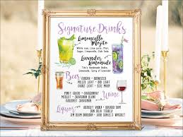 digital printable wedding menu sign watercolor wedding bar