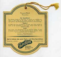 Wiesbaden Germany Map by Back Side Original Vintage Hotel Room Door Hanger Sign