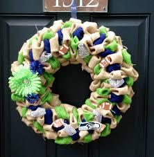 seahawk ribbon seattle seahawks burlap wreath by hsrcreations on etsy 45 00
