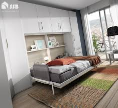 space saving double bed horizontal double wall bed with storage