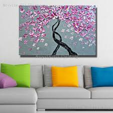 nice pink color peach blossom flower wall picture handmade flower