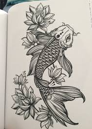 koi and lotus flowers from my coloring book tattoo designs