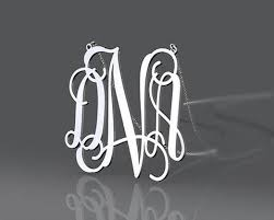 Initial Monogram Necklace Initial Monogram Dna Style 1 Inch Or Customized Monogram Necklace