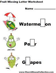 kindergarten fruit missing letter worksheet