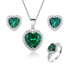 heart shaped emerald necklace images Luxury emerald bridal jewelry sets heart shaped emerald bridal jpg