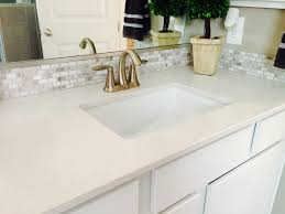 master bath vanity silestone counter with decorative mosaic tile