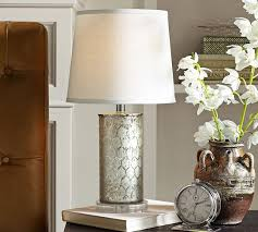 Pottery Barn Lamos Etched Mercury Glass Table Lamp Pottery Barn Living Rooms