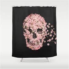 Pink Flower Shower Curtain Black And Pink Floral Skull Shower Curtain U2013 Sugar Skull Bedding