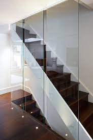 Recessed Handrail Wooden Staircase Railing With Glass Staircase Contemporary With