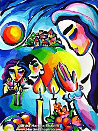 artist martina shapiro family shabbat painting original jewish
