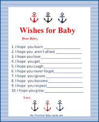 free printable nautical baby shower wishes for baby baby shower